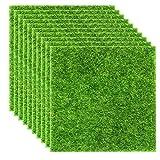 Elcoho 10 Stück Kunstrasen Rasen lebensecht Fee Kunstrasen Rasen Miniatur-Feengarten Ornament Puppenhaus Dekoration 15,2 x 15,2 cm
