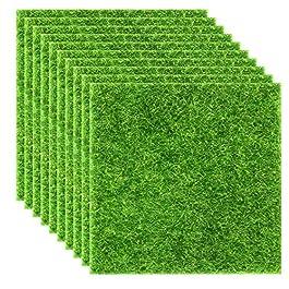 Elcoho Lot de 10 pelouses de jardin artificielles réalistes – Pour décoration de maison de poupée – 15,2 x 15,2 cm