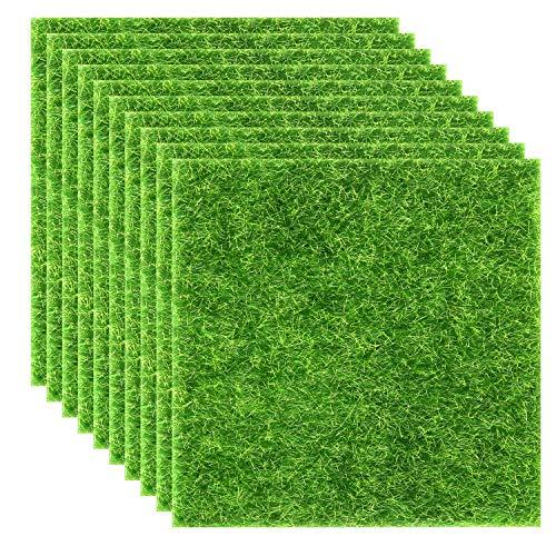 Elcoho 10 Pieces Artificial Garden Grass Lawn Life-Like Fairy Artificial Grass Lawn Miniature Fairy Garden Ornament Dollhouse Decoration  6 x 6 Inches