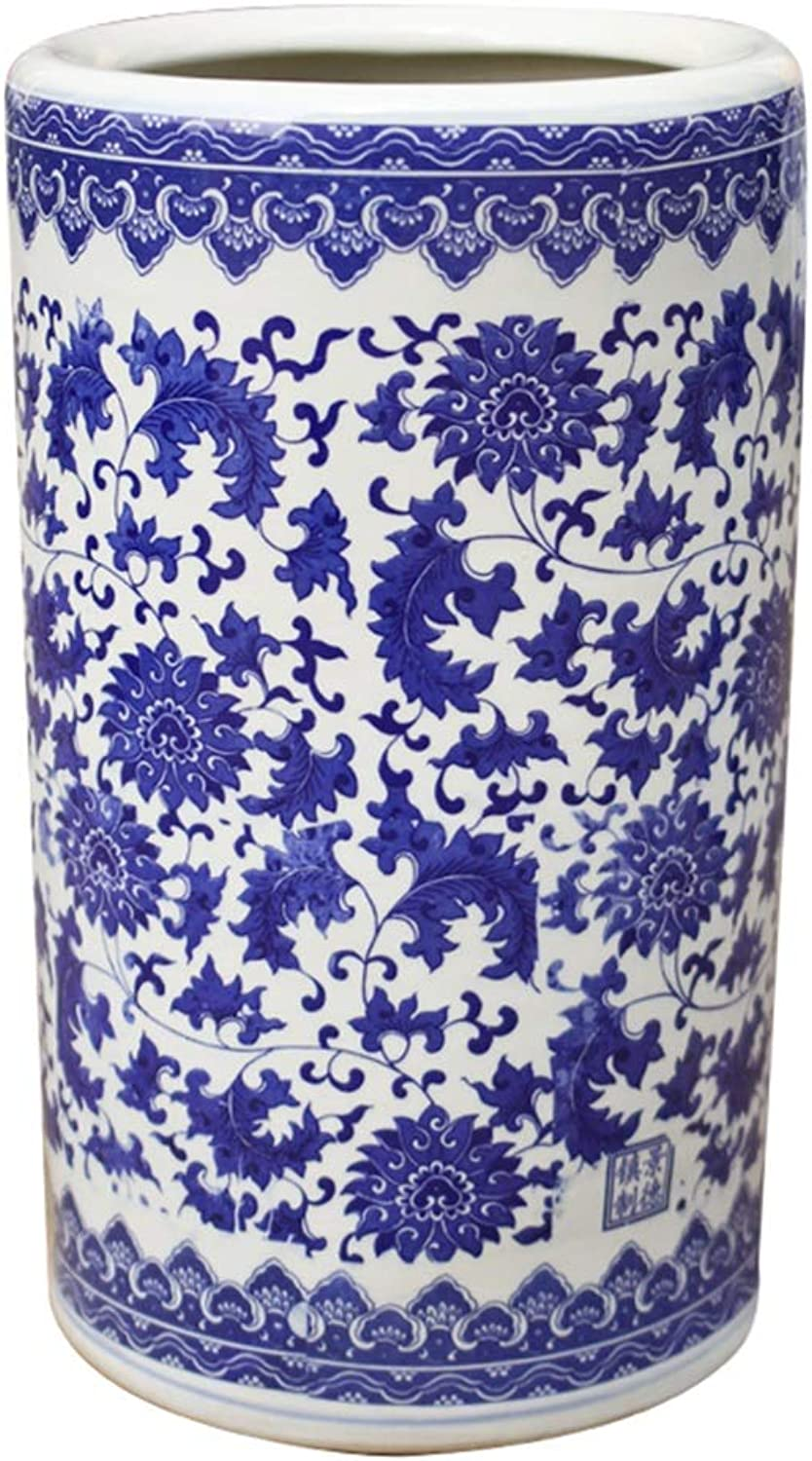 LXLA - Traditional Style Glazed Ceramic Umbrella Stand Stick Rack or Vase - Floral bluee & White (color   Style 2)