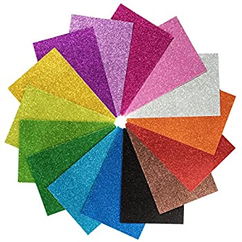 15 Pack Self Adhesive Glitter Foam Paper Sheets - 8 x12  - 15 Colors - Perfect for Holiday Card Crafts