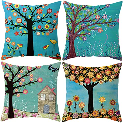 Cushion Covers 18x18 - Use on Cushions for Sofa or Bed - Square 45 x 45 cm - Set of 4 - Throw Pillow Case - Super Soft – Decorative House Accessories - Colourful - Set B