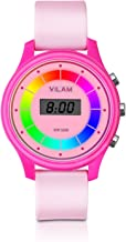 Rainbow Coloured Lights Kids Watch - 7 Colors Flashing 50M Waterproof Children Electronic Watch, Washable Comfortable Watchband Digital Child Wrist Watch for Boys and Girls as Christmas Gift