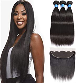 Cranberry Hair Brazilian Straight Virgin Hair 4 Bundles Wefts with 13X4 Ear to Ear Free Lace Frontal Closure 100% Human Hair Extensions Natural Color (20 22 24+16)