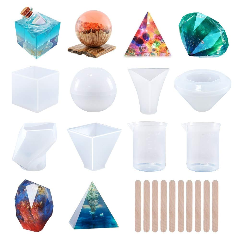 Round with 1 Measuring Cup /& 5 Plastic Transfer Pipettes for Resin Epoxy Pyramid Silicone Resin Molds 5Pcs Resin Casting Molds Including Sphere Candle Wax Cube Bowl Mat etc Square Soap