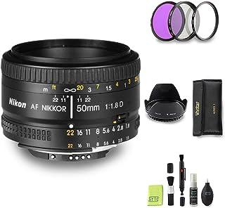 GYTE Bundle | Objetivo Nikon - AF Nikkor 50mm f/1.8D - Lente Prime para Cámara Reflex Digital + Kit de Filtro de 3 Piezas + Juego de Limpieza | Paquete de Accesorios Premium