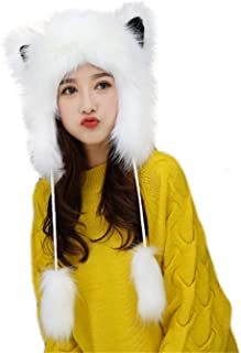 Cute Warm Plush Fluffy Faux Fur Hood Hat Spirit Ears Wolf Bear Cat Costume Hat