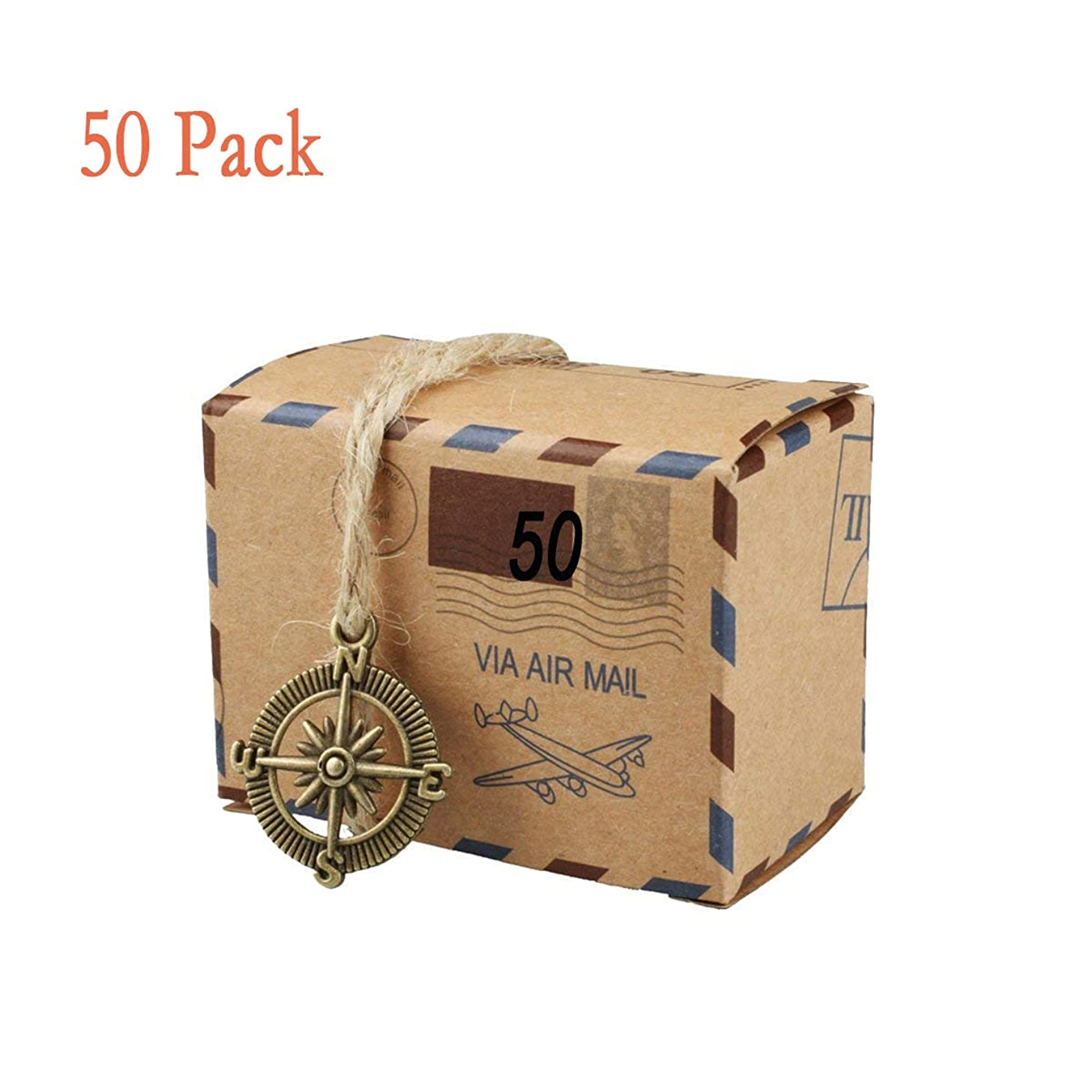 50 PCS Candy Gift Boxes, Bestga DIY Kraft Boxes Retro Post Mail Style Wedding Party Favor Gift Boxes Xmas Cookie Treat Goody Paper Boxes Bags for Christmas, Birthday, Holiday, Thanksgiving - Compass