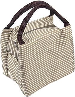 Wultia - Bags for WAMEN Striped Cold Storage Bags Thick Lunch Bag Lunch Bag Bolsa Feminina Beige