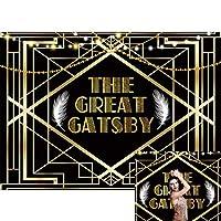 Allenjoy 7 x 5フィート 華麗なるギャツビーの背景幕 1920年代レトロでキラキラ光る ブラック ゴールデンアート イベント 写真背景 子供 新生児 ベビーシャワー 誕生日パーティー 装飾 バナー 写真ブース小道具
