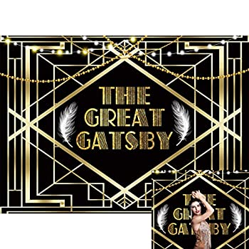 Allenjoy 7x5ft The Great Gatsby Backdrop 1920s Retro Roaring Glitter Black Golden Art Event Photography Background for Children Newborn Baby Shower Birthday Party Decor Banner Photo Booth Props