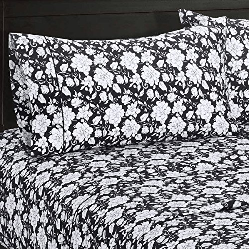 Agnes Floral Sateen Cotton Sheets 5pc Adjustable King SplitKing Bed Sheet Set 100Percent Cotton Superior Sateen Weave Silky Soft Deep Pocket Modern Reactive Print 300 Thread Count