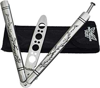 Yuzlder Practice Butterfly Knife, Stainless Steel Balisong Trainer Unsharpened Blade with Spring Latch, Smooth Action Butterfly Knife Trainer