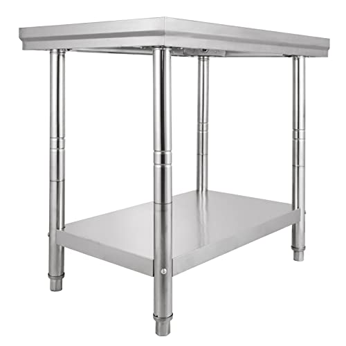 Chaneau Table De Travail Cuisine 60X76X80cm Plan De Travail Cuisine En 2 Etage Kitchen Work Food Prep Table (60X76X80cm)