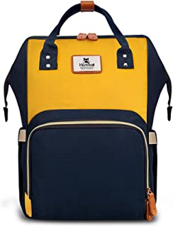 Hafmall Diaper Bag Backpack - Waterproof Travel Nappy Bag Multifunction Baby Bag (Navy Blue &Yellow)