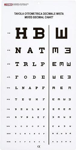 "GIMA - Tavola Optometrica ""Decimale Mista"", Dimensioni 28 x 56 cm, Distanza 3 m"