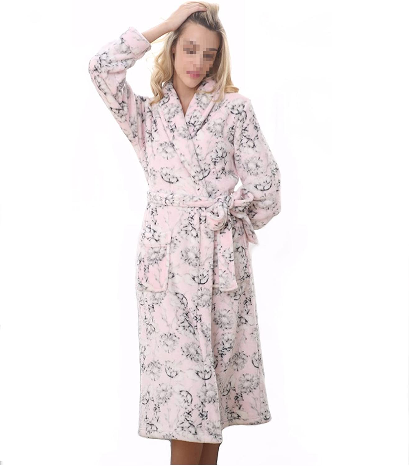 Leeh's Women Bathrobe Nightgown Pink Flannel Floral Long Home Wear for Winter and Autumn