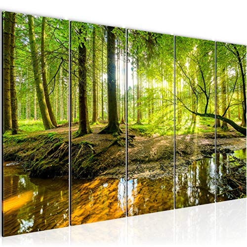 Runa Art Wandbild XXL Wald Landschaft 200 x 80 cm Grün 5 Teilig - Made in Germany - 611755a
