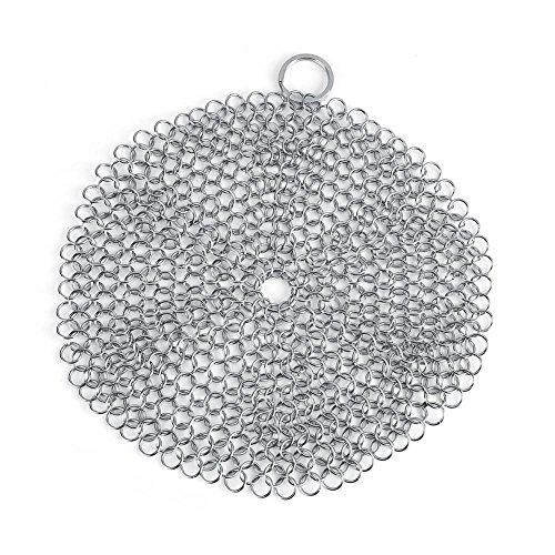 Limpiador de hierro fundido Chainmail Scrubber 304 de acero inoxidable a prueba de óxido raspador limpiador con anillo colgante para olla de hierro fundido utensilios de cocina