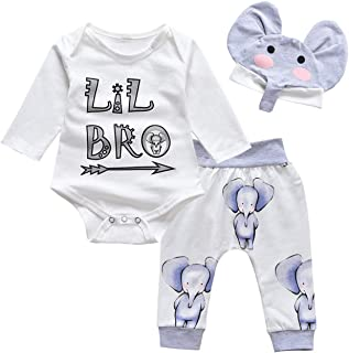 Newborn Baby Boy Clothes Little Brother Coming Home Outfit Cute Bodysuit +Infant Leggings+Elephant Hat 3PCS Outfits Set