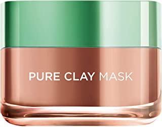 L'Oreal Paris Pure Clay Red Face Mask - Red Algae, Exfoliates and Brightens Pores, 50 ml