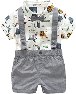 2Piece Infant Baby Boys Gentleman Outfit Set, Bow Tie Cartoon Romper Suspenders Shorts Overalls, Party Suit