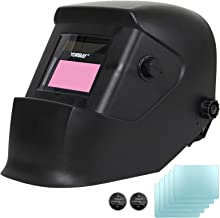 Yorbay Automatische Lasmasker DIN 9-13 + 5 beschermglazen (Zwarte mat)
