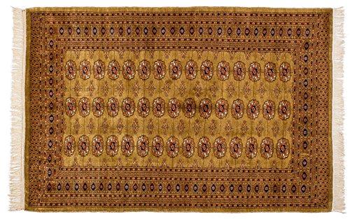Lifetex.eu Teppich Buchara Pakistan ca. 120 x 200 cm Braun handgeknüpft Schurwolle Klassisch hochwertiger Teppich