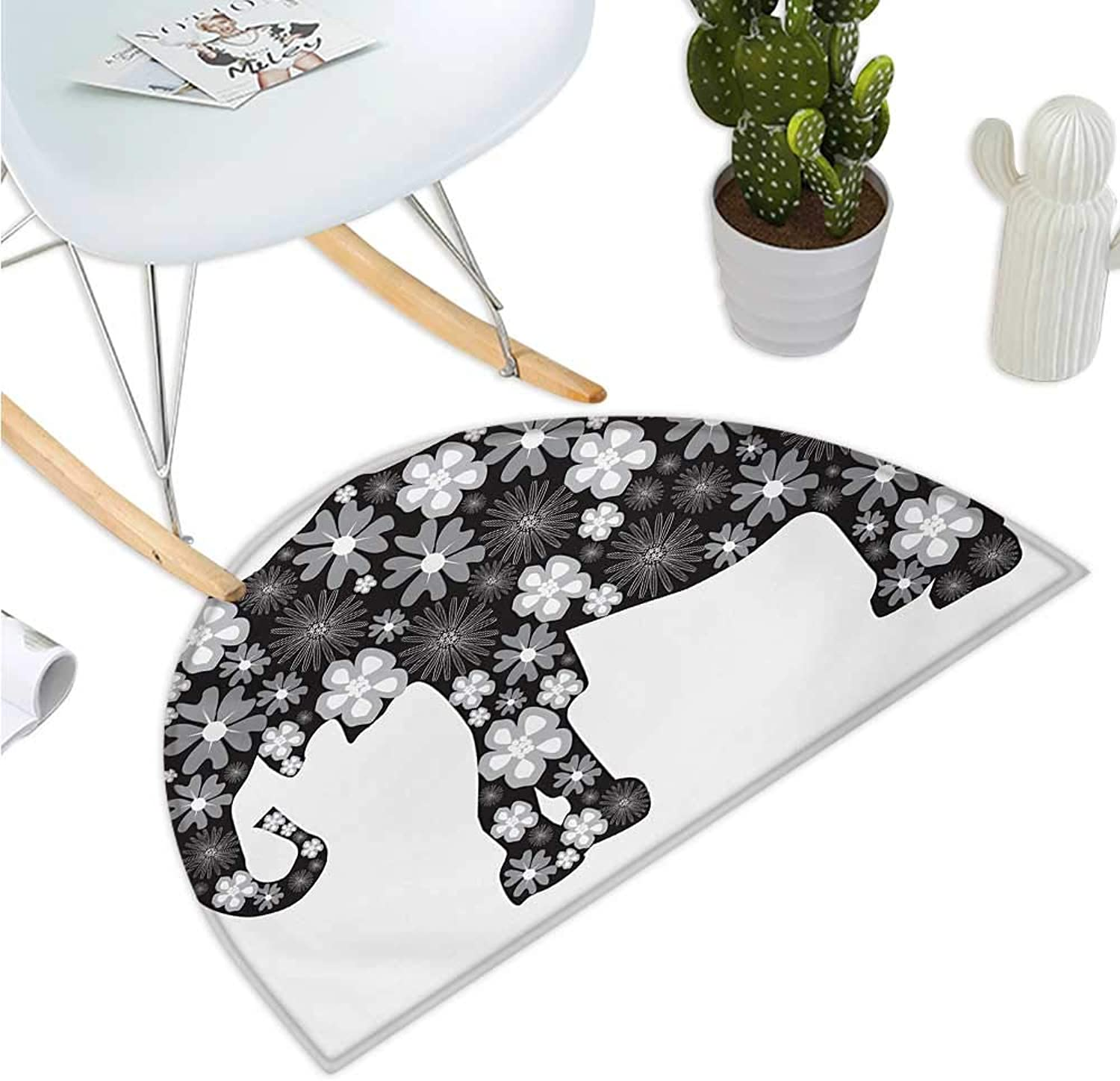 Animal Semicircular Cushion Floral Elephant Pattern with Flower Petals on The Body Tropical Boho Style Zoo Image Entry Door Mat H 51.1  xD 76.7  Grey White