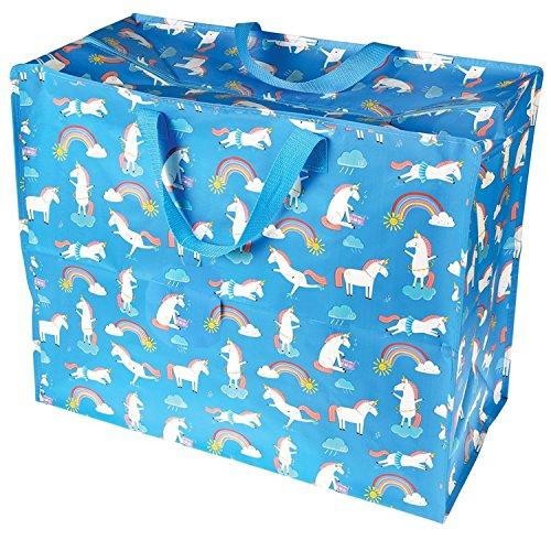 LS Design XXL Jumbo Bag Einkaufstasche Shopper Riesentasche Tasche Allzwecktasche Recycled Einhorn Blau Türkis 55x48x28cm LS-LebenStil