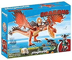 Fun for little adventurers: DreamWorks Dragons by Playmobil Snotlout with Hookfang with working crossbow, throwing sheep and other accessories Rotating and swivelling ballista, movable wings, jaws and legs, detachable saddle, etc., Can be combined wi...