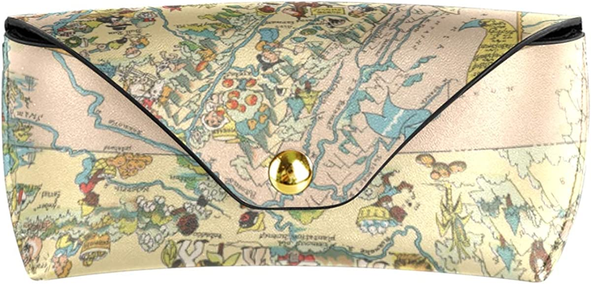 Multiuse Goggles Bag Virginia State Map Cartoon Pattern Portable Sunglasses Case Eyeglasses Pouch Holder PU Leather