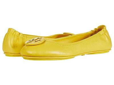Tory Burch Minnie Travel Ballet w/ Leather Logo (Limone/Limone) Women