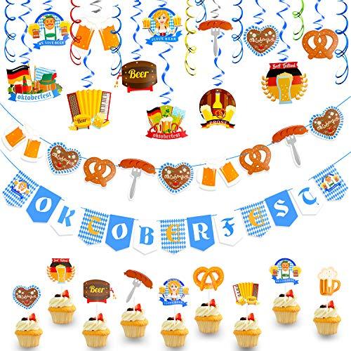 HOWAF Oktoberfest Deko Set, Oktoberfest Deckenhänger Wirbel Spiral Girlande Oktoberfest Banner Hängedeko mit Motiven Bierkrug & Brezel für Oktoberfest Dekoration Bayern deko bayrisch Dekoration