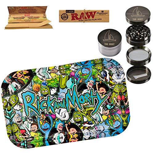 THE BOAT Rolling Tray Rick and Morty 27,5cm x 17,5cm + RAW Rolling Paper Kings Size (2 Units) Metallic Grinder 4 Parts with Scraper, Catcher and Magnetic Lid - Smoking kit for Tobacco use.