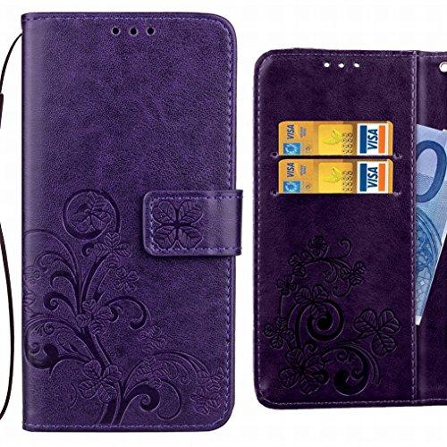 Ougger Handyhülle für Huawei Honor 6C Pro Tasche Glückliche Blätter Beutel Brieftasche Schutzhülle PU Leder Weich Magnetisch Silikon TPU Cover Schale für Huawei Honor 6C Pro mit Kartenslot (Lila)