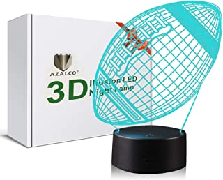 American Football 3D Illusion Rugby Night Light Lamp with 7 Color Change, Touch Base, Power by AA Batteries AZALCO