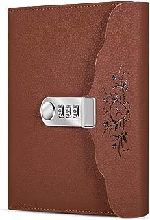 ARRLSDB Lock Diary Leather Journal Writing Notebook Planner Organizer Digital Password Notebook Locking Personal Diary (Brown)