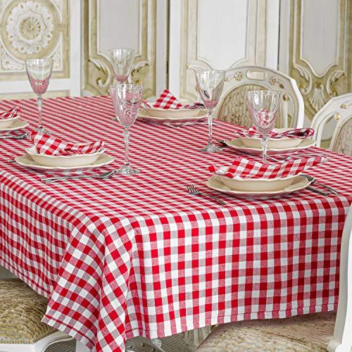 Nappe en vichy rouge - Rectangulaire - 100 % coton - Carreaux rouges et blancs , 100 % coton, Red, 59 x 118\