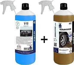 ARGUIPRO Line Limpia Llantas SIN ÁCIDO Profesional, SIN Frotar + Limpia SALPICADEROS Profesional Efecto Mate Y LIMPIACRISTALES AUTOMÓVIL. REBLAN Super 1 Litro + V10 Professional Car Wash.