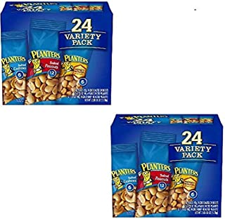 Planters Variety Pack 24 ct, Salted Peanuts, Honey Roasted Peanuts & Salted Cashews Ready-to-Go Sleeves, Multi-Pack Box (Pack of 2)