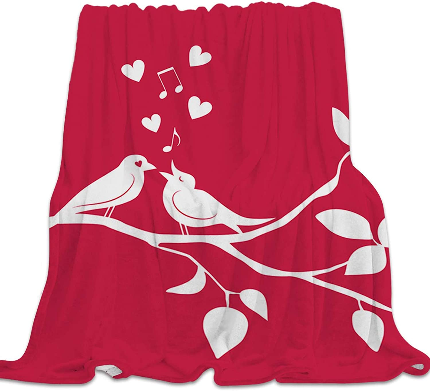 YEHO Art Gallery Soft Flannel Fleece Bed Blanket ThrowBlankets for Girls Boys,The Shadow of Bird Couple Red Pattern,Lightweight Warm Blankets for Bedroom Living Room Sofa Couch,49x59inch