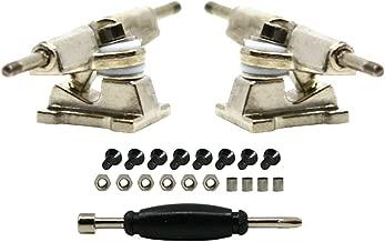 Teak Tuning Chrome Silver Fingerboard Trucks with Standard Tuning, 32mm Width