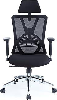 Ticova Ergonomic Office Chair - High Back Desk Chair with Adjustable Lumbar Support & 3D Metal Armrest - 130°Reclining & R...