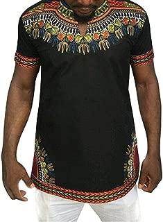 Makkrom Mens African Tribal Dashiki Floral Short Sleeve T Shirt Blouse Tops