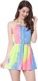 Allegra K Women's Straps Sleeveless Summer Tie Dye Short Romper