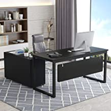 Tribesigns L-Shaped Computer Desk, 55 inch Large Modern Executive Office Desk Business Furniture with File Cabinet and Storage Shelves for Home Office (Black)