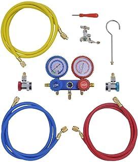 vidaXL Monteurhilfe 2 Wege mit 3 Schläuchen Klimaanlage R134a R22 R12 R502