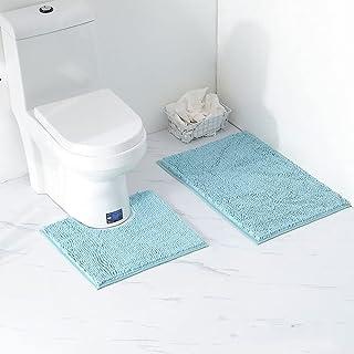 Ensemble Tapis de Bain Carpettes de Toilette 2 Pièces, Tapis WC Antidérapant Doux Absorbant Epais en Chenille pour la Sall...
