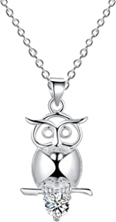 Dolphin Elephant Necklace 925 Silver Plated Owl Cat Necklace for Women Horse Fox Necklace Friendship Necklace Cute Animal Necklace Good Luck Necklace Jewelry Gift